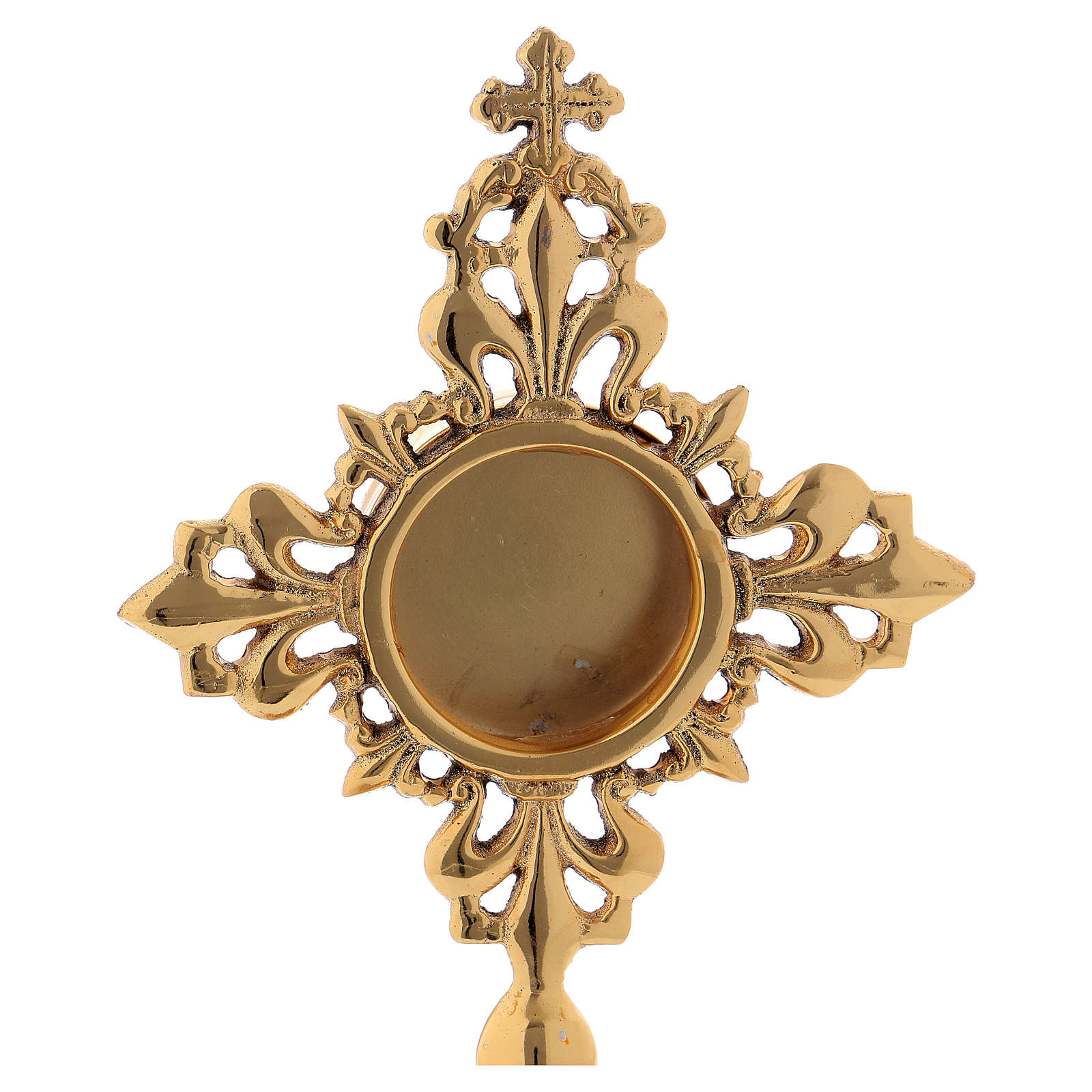 Reliquiario intarsiato ottone dorato 20 cm 4