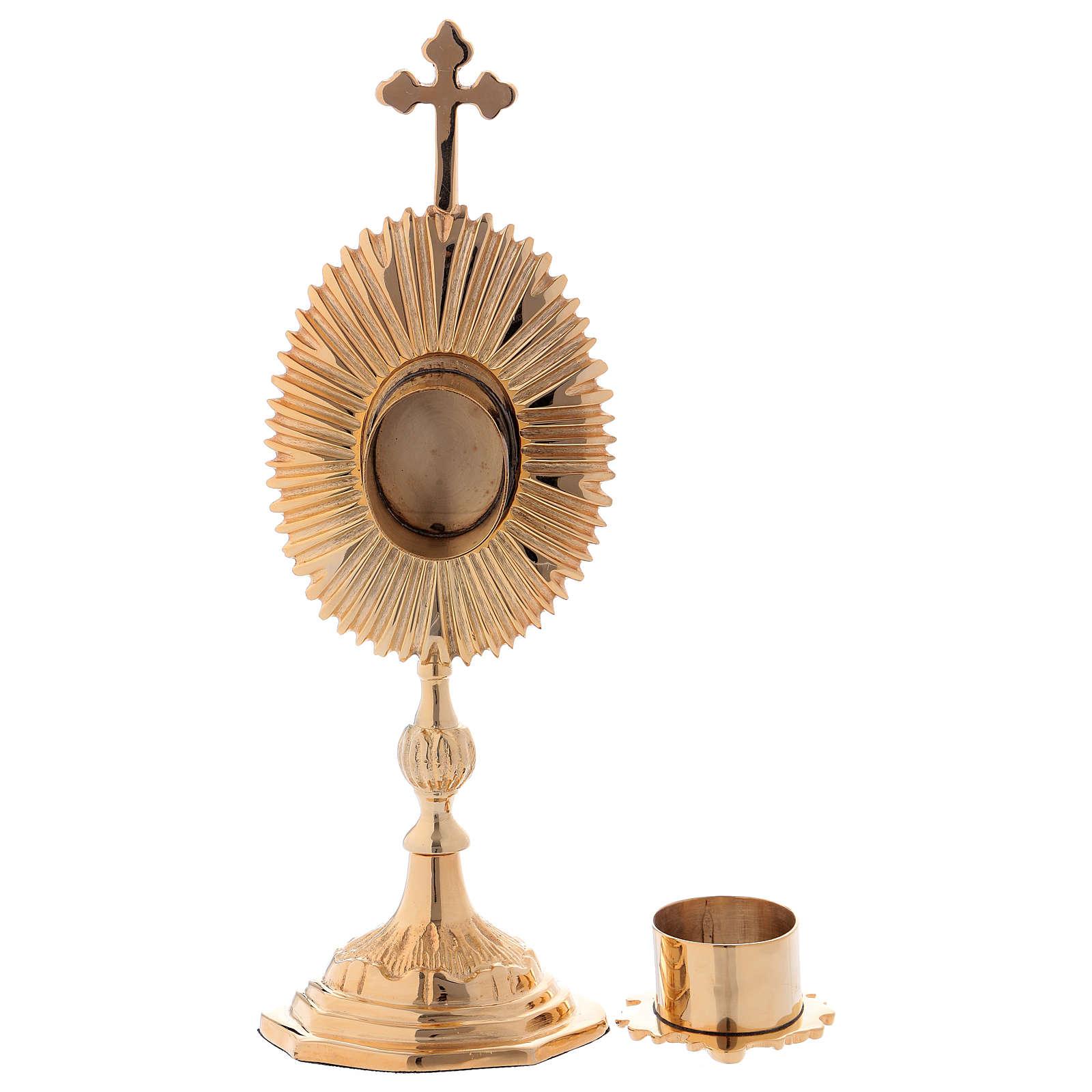 Reliquiario decorato con croce ottone dorato 4