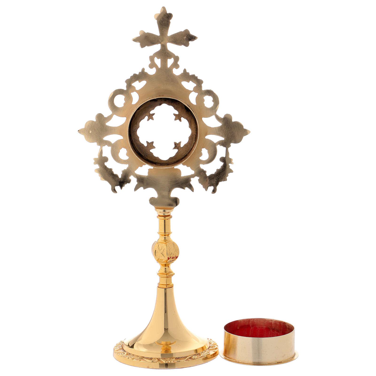 Reliquiario croce e intarsi ottone dorato 32 cm 4