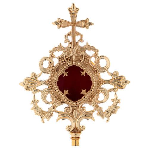 Reliquiario croce e intarsi ottone dorato 32 cm 2