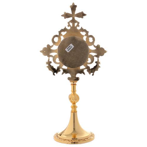 Reliquiario croce e intarsi ottone dorato 32 cm 6