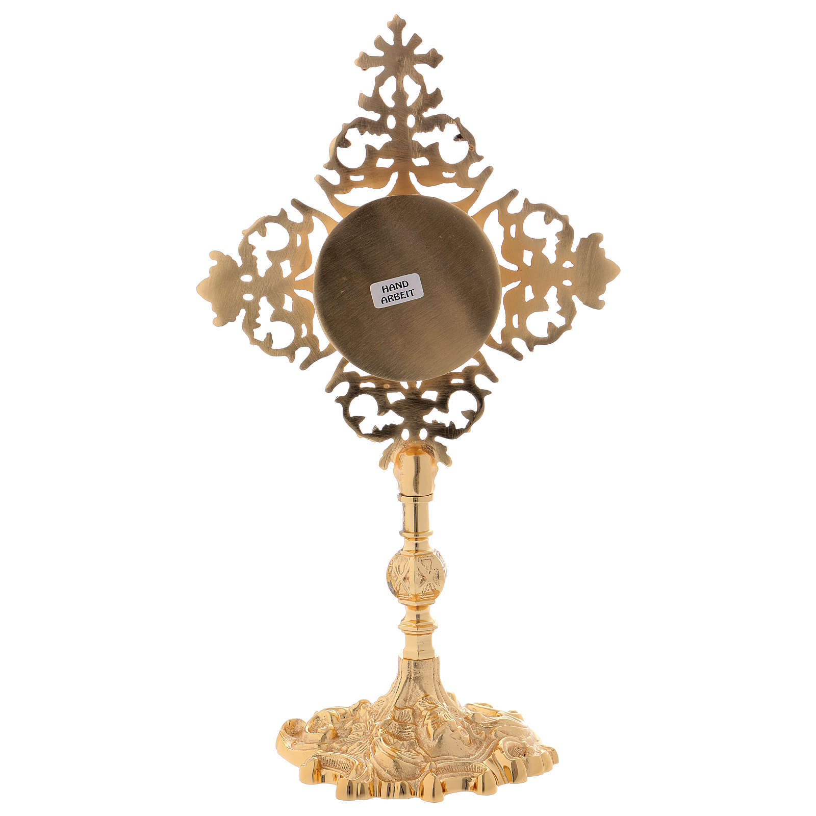 Reliquiario croce con zircone rosso ottone dorato  4