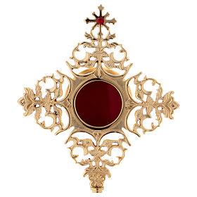 Reliquiario croce con zircone rosso ottone dorato  s2