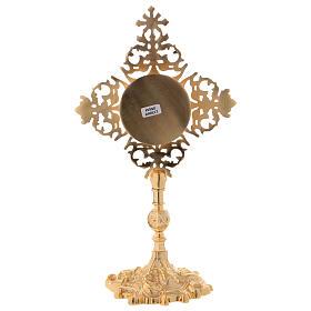 Reliquiario croce con zircone rosso ottone dorato  s6