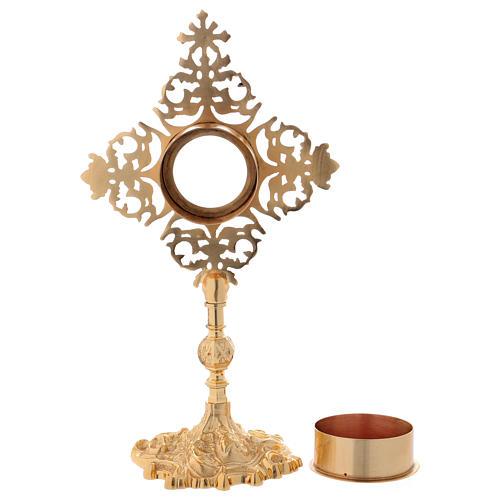 Reliquiario croce con zircone rosso ottone dorato  7