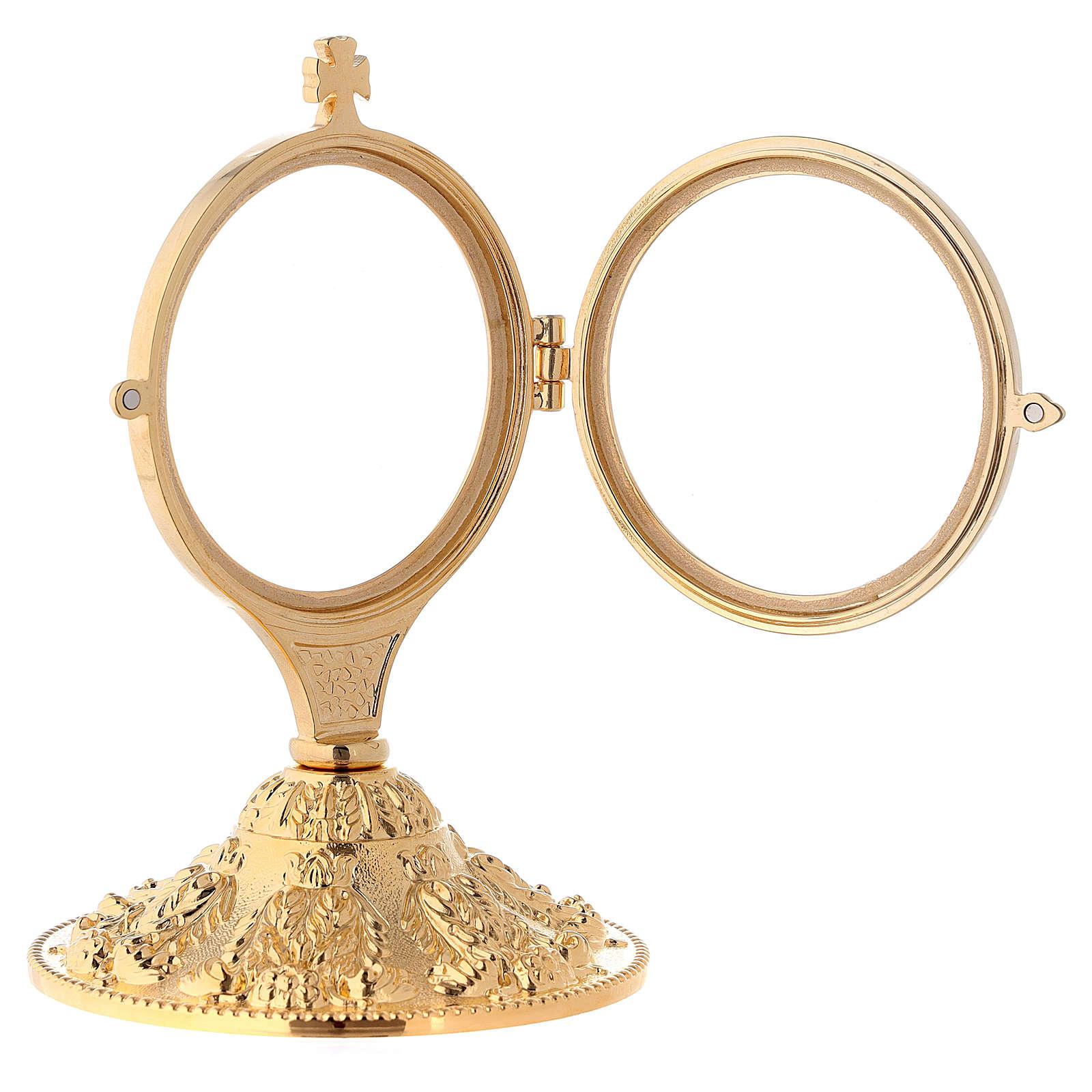 Relicario de exposición con base en fusión latón dorado 17 cm 4