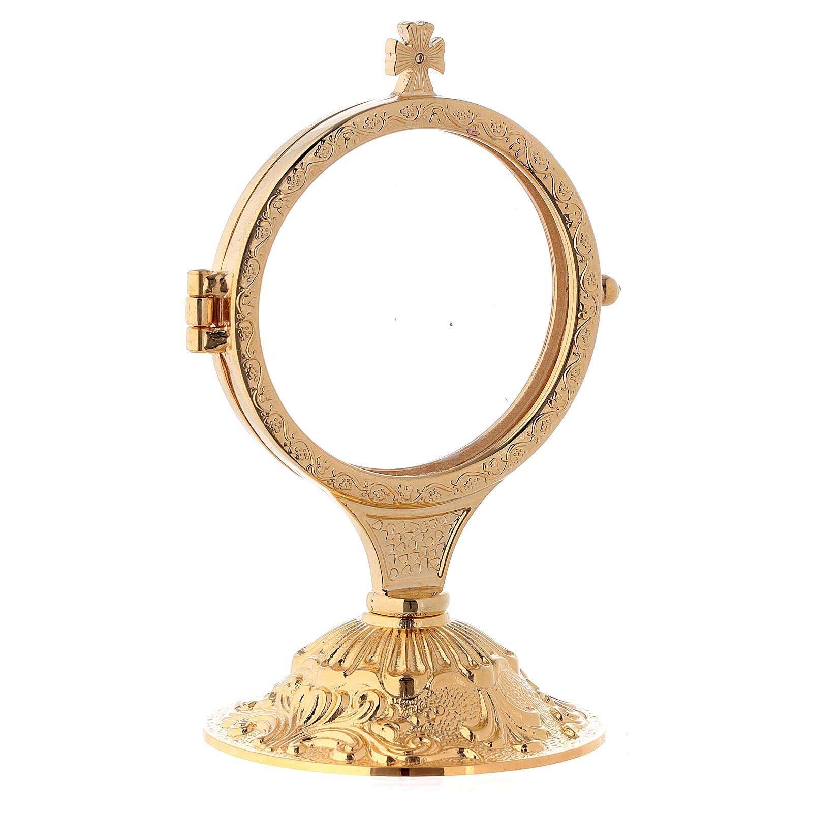 Ostensório para exposição latão fundido dourado 24k com base estilo barroco 13,5 cm 4