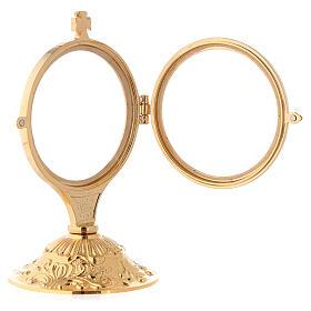 Ostensório para exposição latão fundido dourado 24k com base estilo barroco 13,5 cm s3