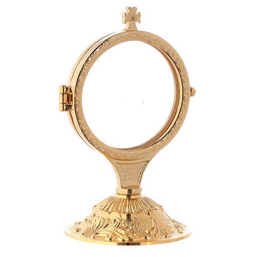 Ostensório para exposição latão fundido dourado 24k com base estilo barroco 13,5 cm 2