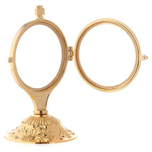 Ostensório para exposição latão fundido dourado 24k com base estilo barroco 13,5 cm 3