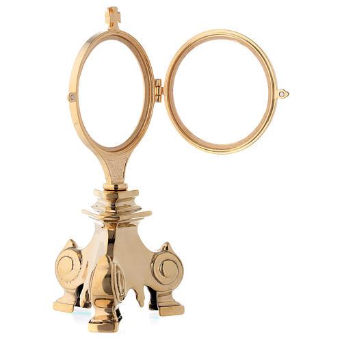 Relicario de exposición base barroca 20 cm latón dorado 24k 3