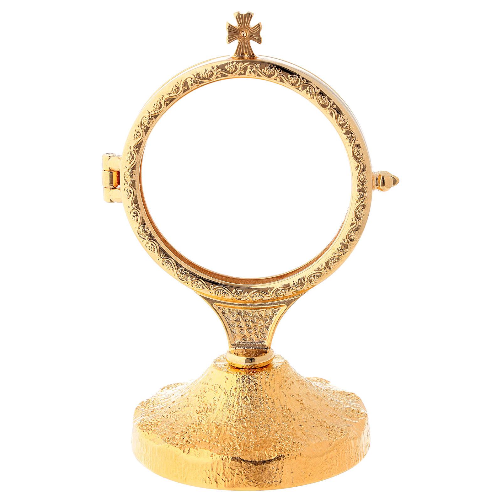 Ostensório base dourada bruta haste curto 15,5 cm 4