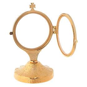 Ostensório base dourada bruta haste curto 15,5 cm s4