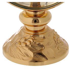 STOCK Ostensorio relicario latón dorado con motivo espiga en la base diámetro 11 cm s3
