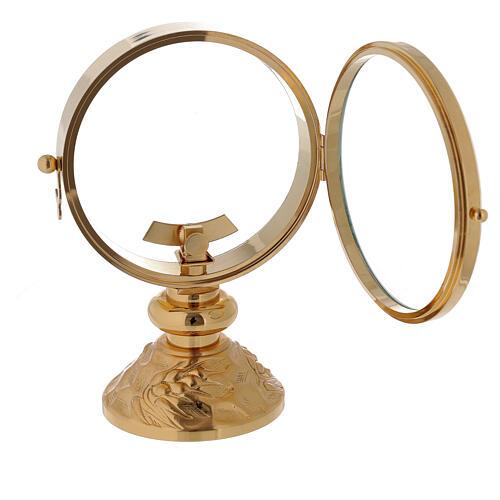 STOCK Ostensorio relicario latón dorado con motivo espiga en la base diámetro 11 cm 4