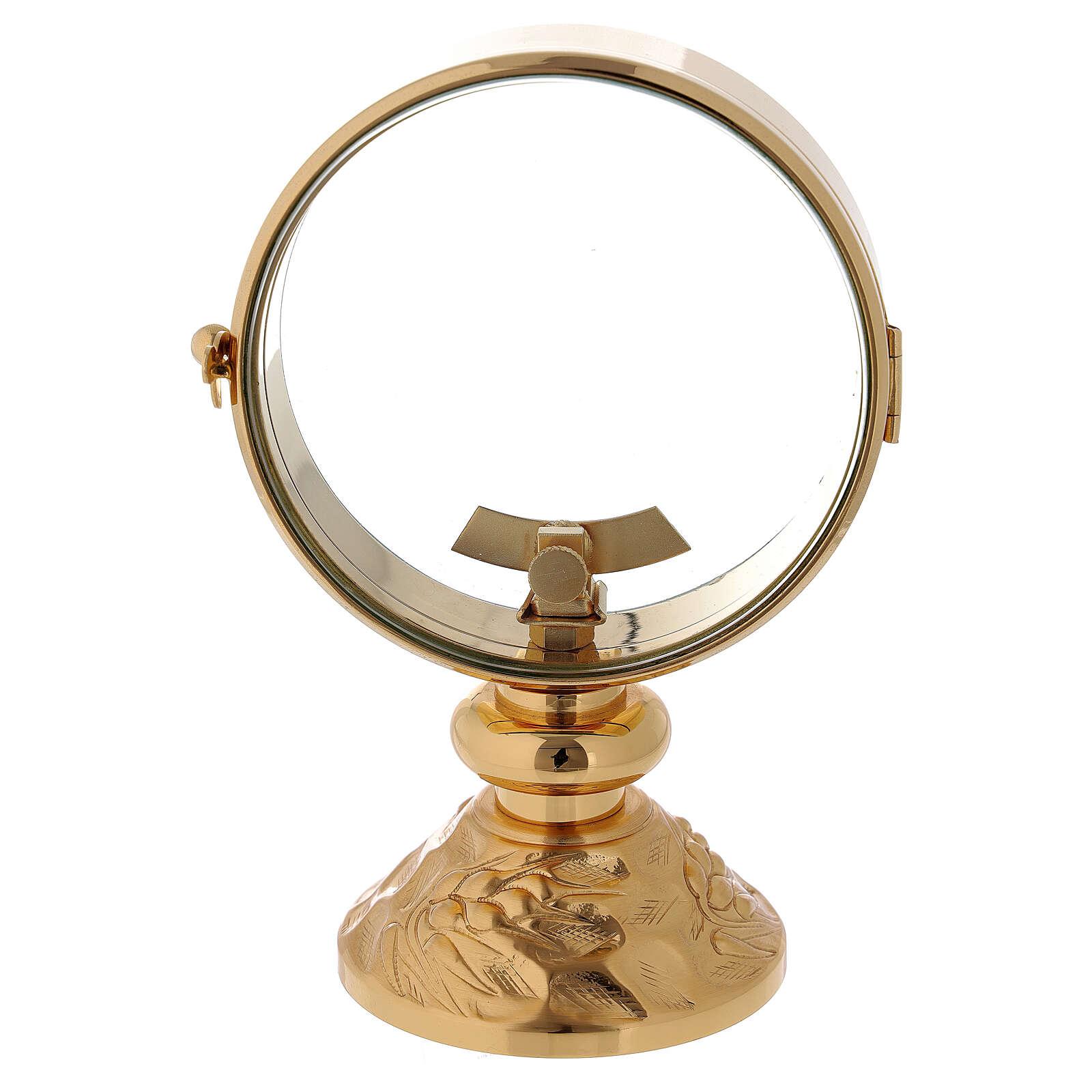 STOCK Ostensorio teca ottone dorato cin decoro spiga alla base diametro 11 cm 4