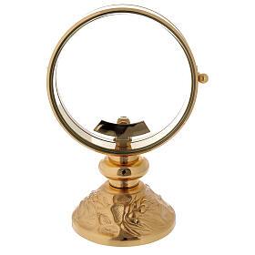 STOCK Ostensorio teca ottone dorato cin decoro spiga alla base diametro 11 cm s1