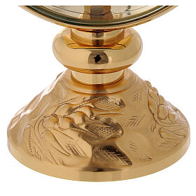 STOCK Ostensorio teca ottone dorato cin decoro spiga alla base diametro 11 cm s3
