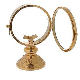 STOCK Ostensorio teca ottone dorato cin decoro spiga alla base diametro 11 cm s4