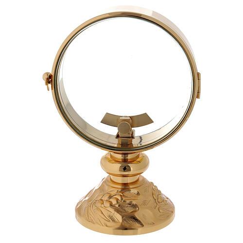 STOCK Ostensorio teca ottone dorato cin decoro spiga alla base diametro 11 cm 5