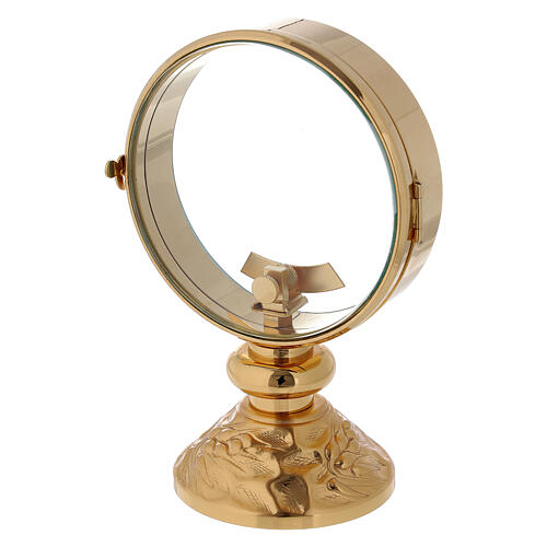 STOCK Gold plated brass monstrance spike pattern on the base 4 in diameter 2
