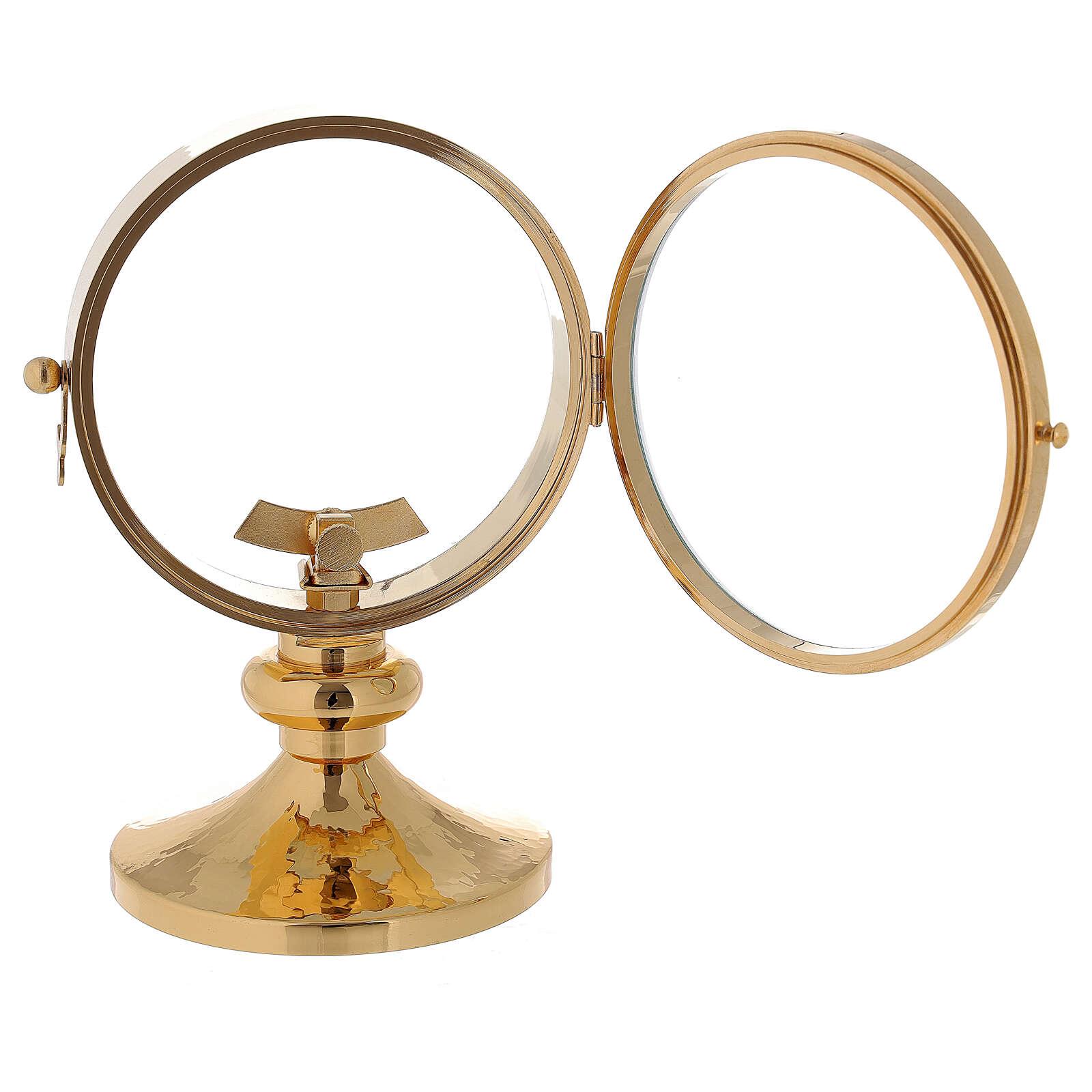 STOCK Ostensorio relicario latón dorado liso diámetro 11 cm 4
