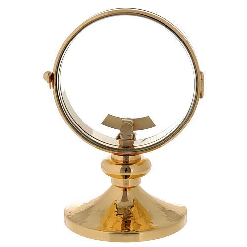 STOCK Ostensorio relicario latón dorado liso diámetro 11 cm 1