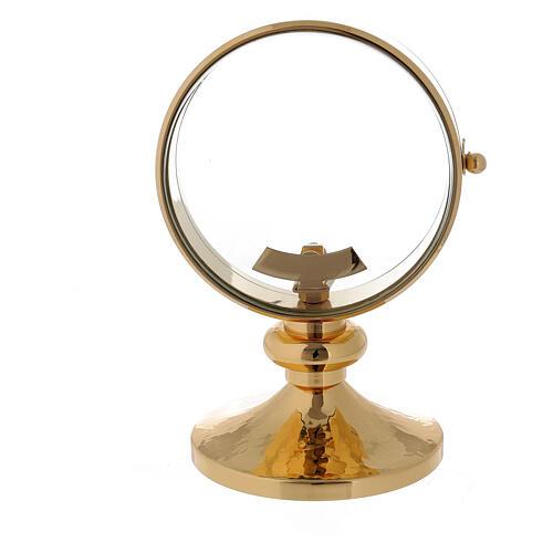 STOCK Ostensorio relicario latón dorado liso diámetro 11 cm 5