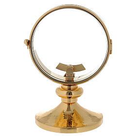 STOCK Ostensorio teca ottone dorato liscio diametro 11 cm s1