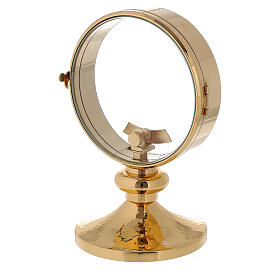 STOCK Ostensorio teca ottone dorato liscio diametro 11 cm s2