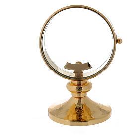 STOCK Ostensorio teca ottone dorato liscio diametro 11 cm s5
