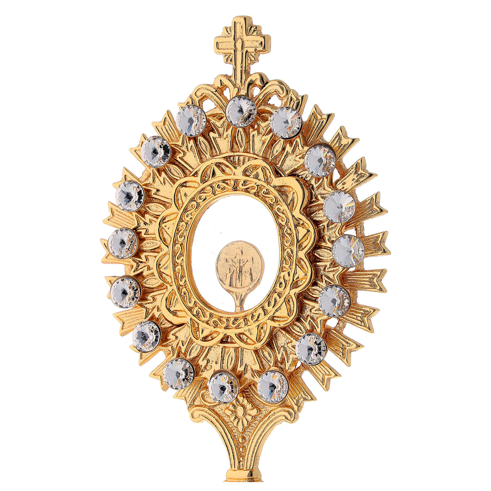 Reliquary in golden brass with white crystals height 20 cm 4