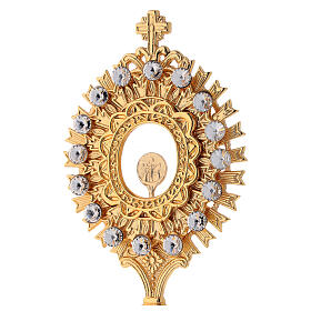 Reliquary in golden brass with white crystals height 20 cm s2