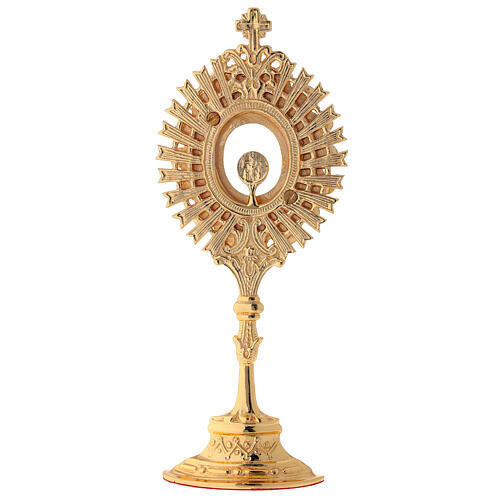 Reliquary in golden brass with white crystals height 20 cm 5