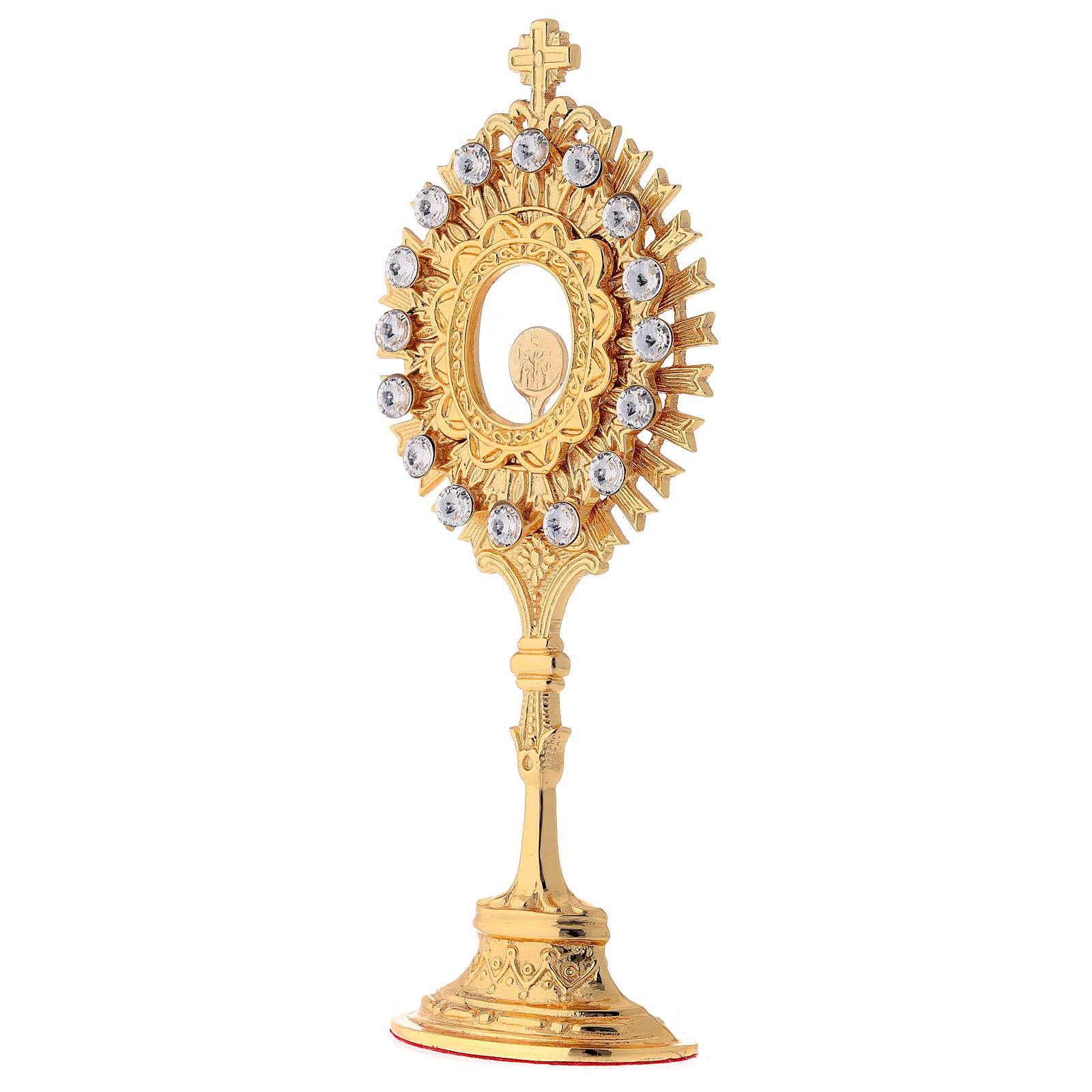 Relicario latón dorado cristales blancos altura 20 cm 4
