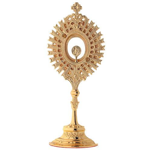 Reliquiario ottone dorato cristalli bianchi altezza 20 cm 5
