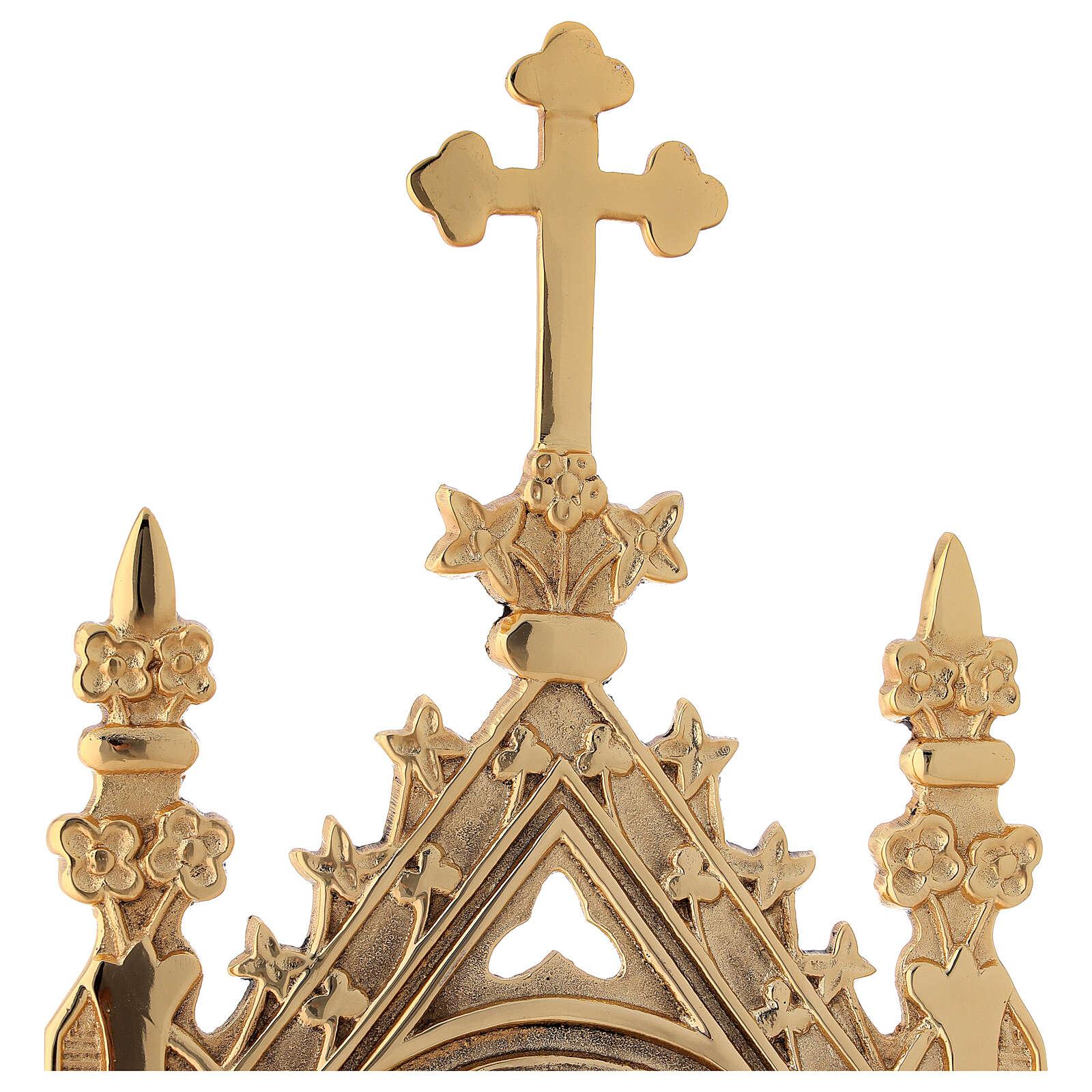Relicario latón dorado gótico 9 cm 4