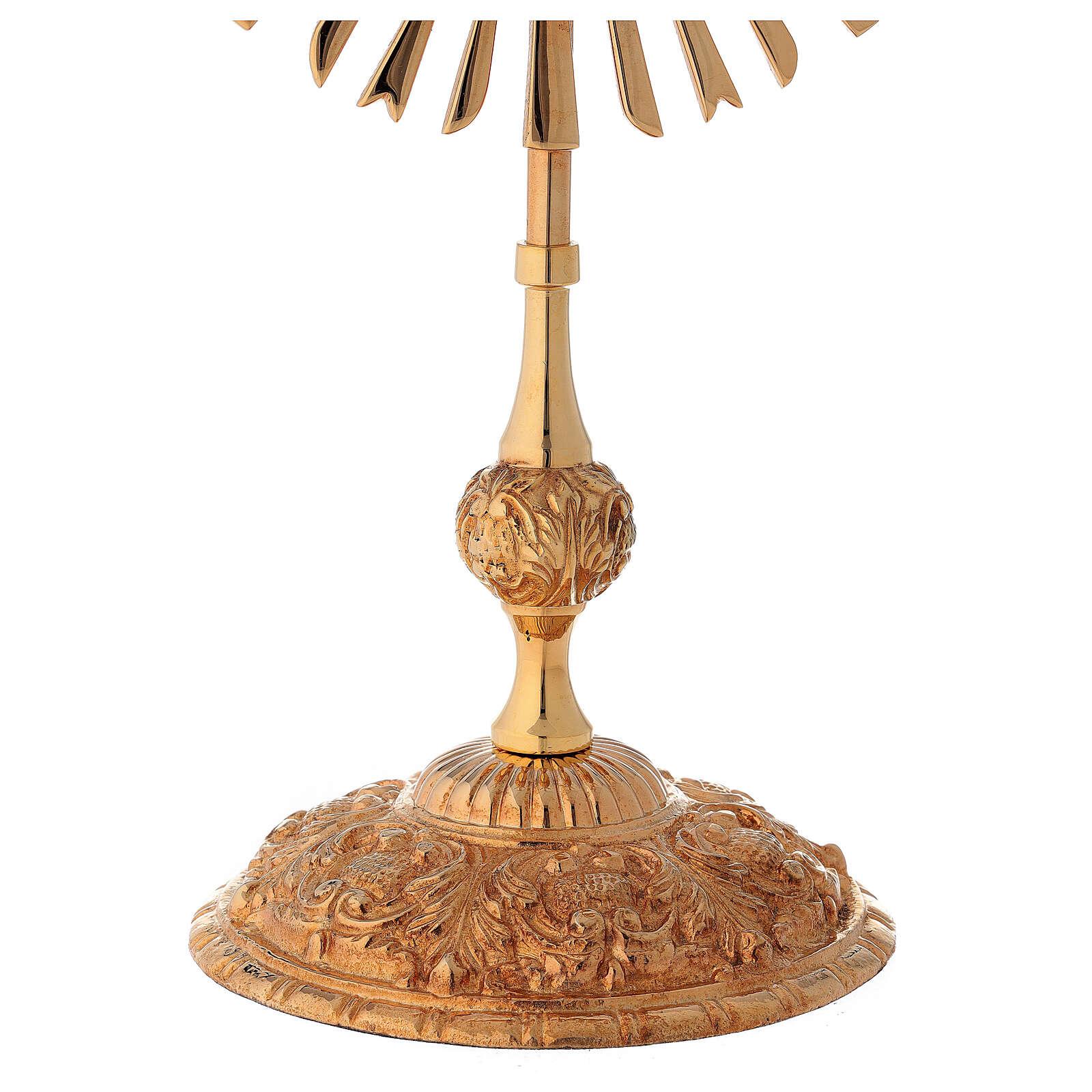 Relicario corona de rayos 32 cm ostensorio redondo latón dorado 4