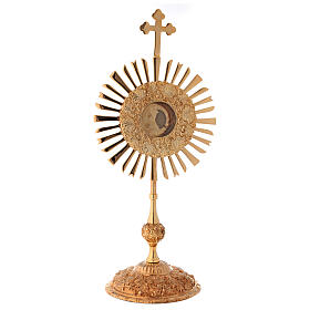 Relicario corona de rayos 32 cm ostensorio redondo latón dorado s1