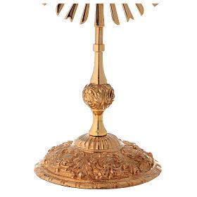 Relicario corona de rayos 32 cm ostensorio redondo latón dorado s4