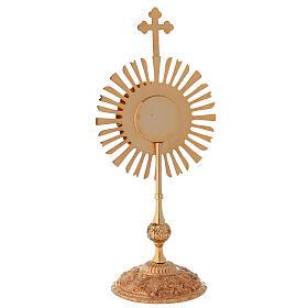 Relicario corona de rayos 32 cm ostensorio redondo latón dorado s6