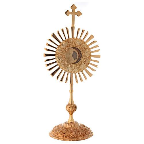 Relicario corona de rayos 32 cm ostensorio redondo latón dorado 1