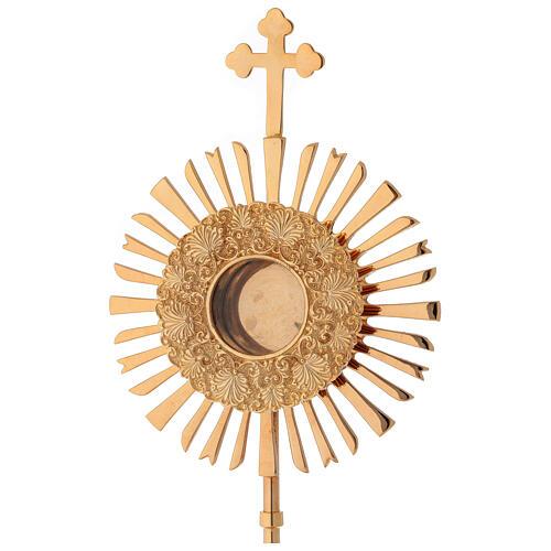 Relicario corona de rayos 32 cm ostensorio redondo latón dorado 2