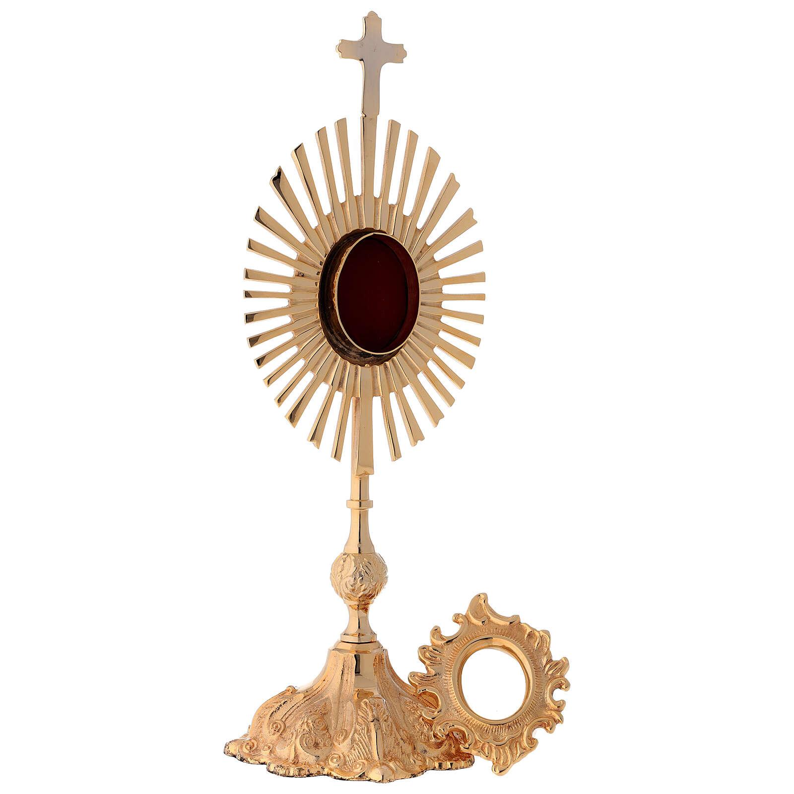 Relicario altura 35 cm latón dorado corona de rayos 4