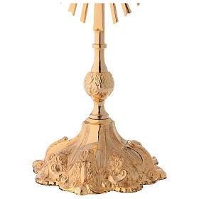 Relicario altura 35 cm latón dorado corona de rayos s4