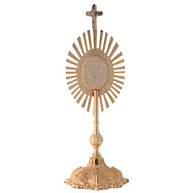 Relicario altura 35 cm latón dorado corona de rayos s6