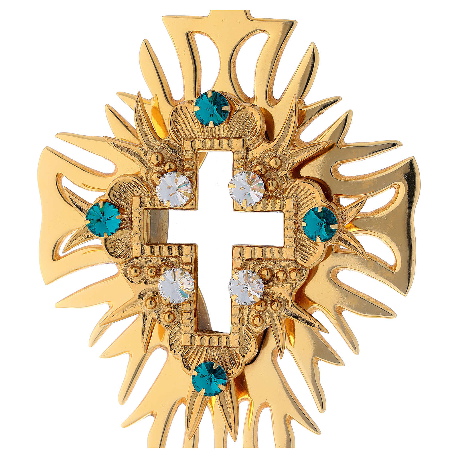 Relicario latón dorado cristales cruz decorada altura 30 cm 4