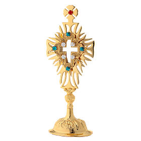 Relicario latón dorado cristales cruz decorada altura 30 cm s1
