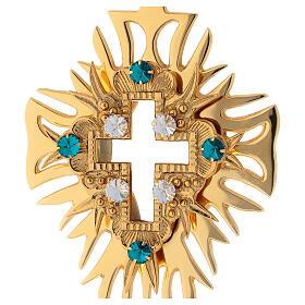 Relicario latón dorado cristales cruz decorada altura 30 cm s2