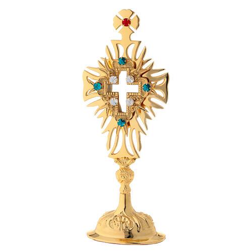 Relicario latón dorado cristales cruz decorada altura 30 cm 1